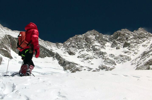 Alexia looking at Kangch during acclimatisation, 7200m. © Ludovic Challeat