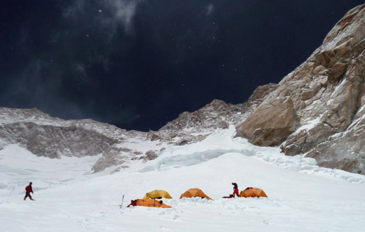 Camp 4, 7550m and the summit couloir. © Ludovic Challeat