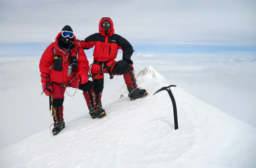 Philippe and Phu Dorchi on Kangch summit, 19 May, 9am